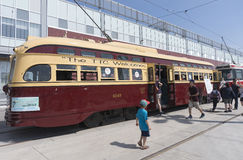 TORONTO, CANADA - MAY 28, 2016: 1951 PCC vintage streetcar on di royalty free stock photography