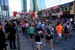 TORONTO, CANADA - May 5th, 2019 - 42nd Annual Toronto Marathon. People running through the city streets. stock photography