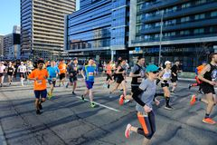 TORONTO, CANADA - May 5th, 2019 - 42nd Annual Toronto Marathon. People running through the city streets. royalty free stock photography