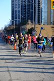 TORONTO, CANADA - May 5th, 2019 - 42nd Annual Toronto Marathon. People running through the city streets. stock photo