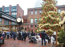 TORONTO, CANADA - NOVEMBER 18, 2017: People visit Christmas market in Distillery Historic District, one of the Toronto`s favourite
