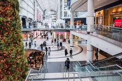 View of the Interior of a Shopping Mall in Toronto stock image
