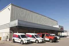 Canada Post Delivery trucks. Toronto, Canada - Oct 17, 2017: Canada Post mail delivery trucks at a depot in Toronto. Province of Ontario, Canada Stock Images