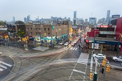 Crossroads in Toronto, Canada. Toronto, Canada - Oct 14, 2017: Crossroads of the Dundas St and Spadina St in the China Town district of Toronto. Ontario, Canada Royalty Free Stock Images