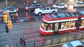 Streetcar in Toronto, Canada. Toronto, Canada - Oct 15, 2017: streetcar in the city of Toronto at a rainy night. Province of Ontario, Canada stock video
