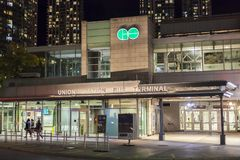 Union Station Bus Terminal in Toronto, Canada. Toronto, Canada - Oct 16, 2017: The Union Station bus terminal illuminated at night. City of Toronto, Canada Stock Image