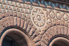 Toronto, Canada: Old City Hall Romanesque Revival architecture. Old City Hall Richardsonian Romanesque Revival architectural details. David star and arches in stock photography