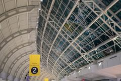 Toronto, Canada, Pearson International Airport. Toronto, Canada-February 5, 2019: Pearson International Airport. Ceiling architecture low angle view. The place stock images