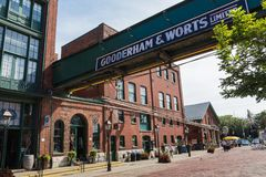 TORONTO, CANADA - SEPTEMBER 18, 2018: Distillery District forme. R Gooderham & Worts Distillery - historic and entertainment precinct. It contains numerous cafes royalty free stock photo