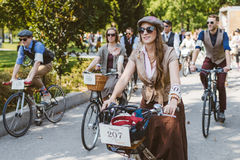 Toronto, Canada - September 20, 2014: Tweed Ride. Toronto, Canada - September 20, 2014: Unidentified participants of Tweed Ride Toronto riding on their bicycles royalty free stock images