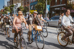 Toronto, Canada - September 20, 2014: Tweed Ride. Toronto, Canada - September 20, 2014: Unidentified participants of Tweed Ride Toronto riding on their bicycles royalty free stock photos