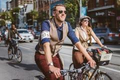 Toronto, Canada - September 20, 2014: Tweed Ride. Toronto, Canada - September 20, 2014: Unidentified participants of Tweed Ride Toronto riding on their bicycles stock photos