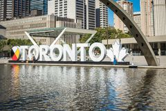 TORONTO, CANADA - SEPTEMBER 17, 2018: View of Toronto Sign on Na stock images