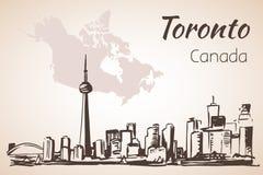 Toronto, Canada sityscape near the coastline. On white background royalty free illustration