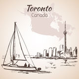 Toronto, Canada sityscape near the coastline. On white background Royalty Free Stock Photos
