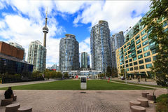 Toronto Canada. TORONTO, CANADA - 16-10-2015: A view of the elegant condominiums on the Lake Ontario in Toronto, Canada. Toronto`s population about 6 million royalty free stock photo