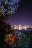 Toronto Canada View from my garden. Toronto City by night view from Toronto Park Ward`s Island Canada Stock Image