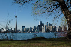 Toronto from Central island. Spring View to the Toronto sky line from the centre island (Ontario lake royalty free stock photography