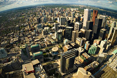 Toronto City Center. Aerial photograph - Rounded fisheye view - Impressive perspective Stock Photography