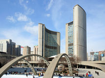 Toronto City Hall Skating Rink Stock Photo