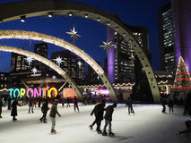 TORONTO -City Hall skating rink royalty free stock photography