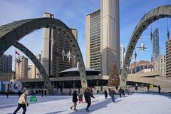 Toronto City Hall Skating Rink Royalty Free Stock Photo