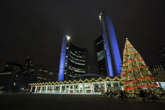 Toronto City Holidays. Toroto City Hall, illuminated in purple and decorated for the Christmas season Royalty Free Stock Photo