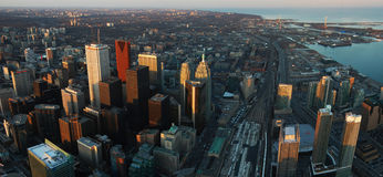Toronto city panorama. Toronto Skyscrapers and harbor panorama at dusk, viewed from CN tower Royalty Free Stock Photography