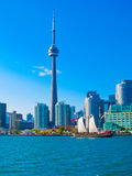Toronto city skyline from the ferry travels to center island, Toronto, Canada. In summer 2011 Stock Photography