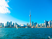 Toronto city skyline from the ferry travels to center island, Toronto, Canada Royalty Free Stock Images