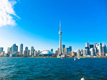 Toronto city skyline from the ferry travels to center island, Toronto, Canada Stock Photography