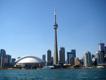 Toronto city skyline with lake Ontario in foreground royalty free stock photography