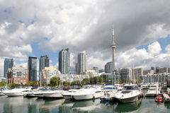 Toronto City View. The view of the CN-Tower from the lakeshore. Toronto, Ontario Stock Photo