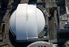 Toronto cityscape. Overhead view of baseball stadium in downtown Toronto, Ontario, Canada Royalty Free Stock Photos