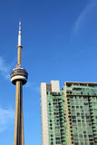 Toronto CN Tower and a condominium building Royalty Free Stock Photography