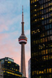 Toronto CN Tower and Skyscrapers at dusk Stock Image
