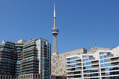 Toronto CN Tower and waterfront residential buildings Stock Photography