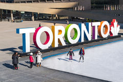 Toronto 3D Sign Nathan Phillips Square, Canada. Winter Lifestyle Royalty Free Stock Image