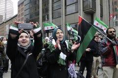 Reunión para marcar 2 años de revolución siria en Toronto Fotos de archivo
