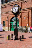 Toronto distillery historic district square with classic vintage clocks Royalty Free Stock Images