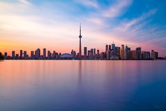 Toronto DownTown. Skyline of Toronto DownTown with Lake Ontario stock photo