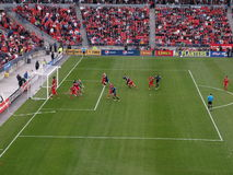 Toronto FC vs. San Jose Earthquakes. Toronto FC play at home in BMO field during the regular season MLS match against San Jose Earthquakes. The picture shows Royalty Free Stock Photo
