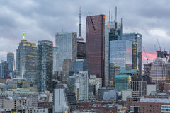 Toronto Financial District skyscrapers at sunset Stock Image