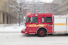 Toronto Fire Truck Moving down a Road Royalty Free Stock Photos