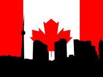 Toronto with flag. Toronto skyline with Canadian flag illustration Stock Image