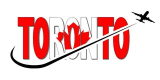 Toronto flag text with plane and swoosh illustration Royalty Free Stock Image