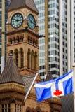 Toronto flagga som framme vinkar av gammalt stadshus i Ontario, Kanada royaltyfri bild