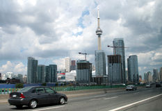 Toronto from the Gardiner. A shot of downtown Toronto from the Gardiner expressway Royalty Free Stock Photos