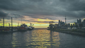 Toronto Golden Dusk Sunset Docks Port Tugs Royalty Free Stock Photography