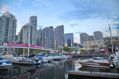 Toronto Harborfront. May 28, 2016: Busy  area. The Harbourfront is a neighbourhood on the northern shore of Lake Ontario Stock Photo